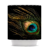 "Alison Coxon ""Peacock Black"" Shower Curtain"