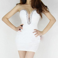 061904 bb Diamond V-neck lace dress