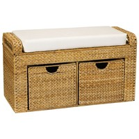 Household Essentials Banana Leaf 2-Drawer Storage Bench with Cushion (Brown)