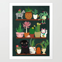 Cacti and Pug on blackboard Art Print by Elisandra