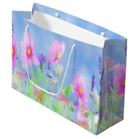 Watercolored summer flowers pink and blue gift bag