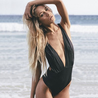 Fashion Black Deep V-Neck Backless One-Pieces  Swimsuit Bikini Swimwear Women Beachwear = 5617093953