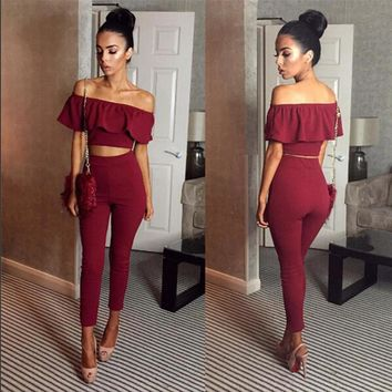 Casual Women Suits Sexy Two Piece Outfits Girls Crop Top And Long Pants 2 Piece Women Set Bodycon Suit Womens Clothing Ruffles