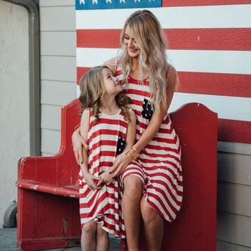 Mother and Daughter Family Matching American Flag Dress