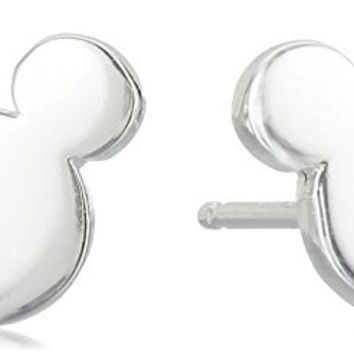 Disney Sterling Silver Mickey Mouse Silhouette Post Stud Earrings