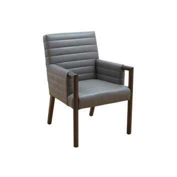Fitzgerald Dining Arm Chair Dove Grey Leather Stitched Lines Distressed Legs
