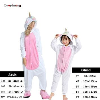 Boys Girls Clothes Gold Horn Unicorn Pajamas For Women Onesuit Cartoon Animal Sleepwear Winter Warm Pajamas Kigurumi Pyjamas Kids
