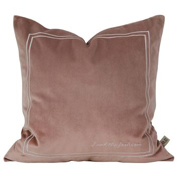 """Blossom Pink Pure Velvet Embroidery Pillow Cover 18"""" x 18"""""""
