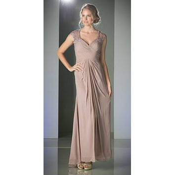 Cap Sleeves Marble Floor Length Evening Dress Sheer Back
