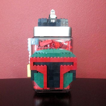 LEGO Party Boba Fett Star Wars Birthday Decoration Gift Centerpiece.Boba Fett.The Force Awakens.Star Wars.Jedi.Lego Candy Jar.Home Décor.