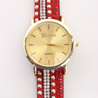 Red Studded Rhinestone Decor Faux Suede Watch