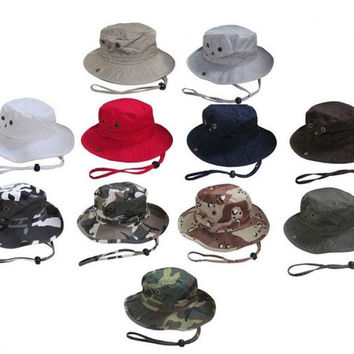 Camouflage Bucket Hat Outdoor Camping Hiking Cap Cotton = 1930075268