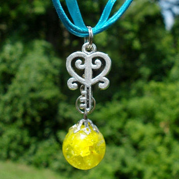 Heart Key Yellow Fried Marble Blue Ribbon Necklace by KatieDidsx3