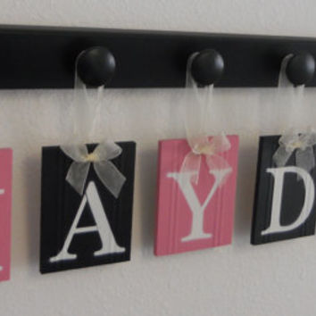 Kids Alphabet Letters Wooden Set Includes 6 Wood Hangers and Babies Name HAYDEN painted Pink and black. Baby Girls Room Wall Decor