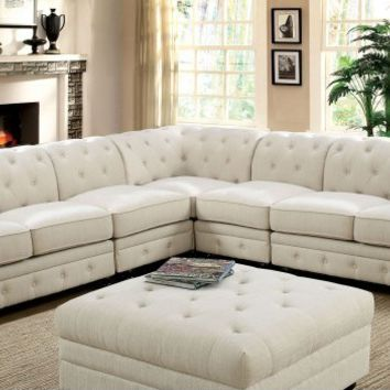 5 pc Stanford II collection contemporary style ivory faux leather upholstery sectional sofa