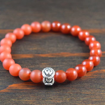 Opposites Attract! Men's Beaded Bracelet. Carnelian Bracelet. Lion Bracelet. Men's Yoga Bracelet. Men's Fashion. Lotus & Lava Bracelet.