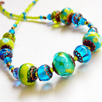 Venezia 1953 - lampwork necklace, bohemian necklace, elegant, dainty, blue green necklace, lampwork jewelry