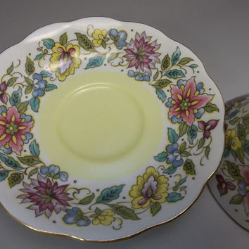 Tea Cup Saucer Royal Albert Vintage Set Yellow Blue Pink Flowers English Bone China
