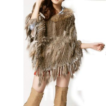 Winter Women Real Rabbit Fur Raccoon Fur Knit Poncho Shawl Cape Fur Coat Jakcet RCS001