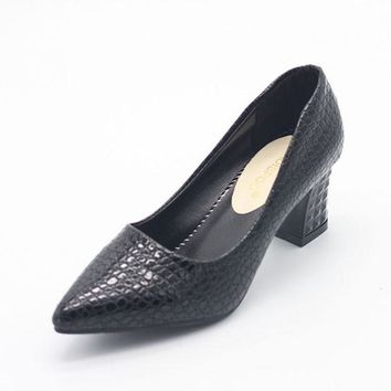 POADISFOO Woman Square Heel Pumps Fashion Shoes Pu Shallow low-heeled Shoes With High Heel Pointed Shoes .LSS-888