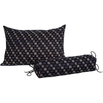 J-Life Kasuri Navy Buckwheat Hull Pillow