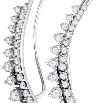 10kt White Gold Womens Round Diamond Climber Earrings 1.00 Cttw