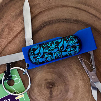 Blue Glass Enhanced Pen Knife