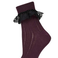Embroidered Trim Ankle Socks - Wine