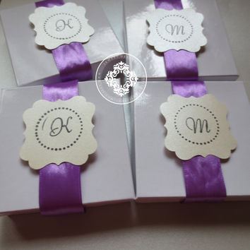 Specialty Monogram Gift Boxes with your color choice of  Ribbon, Custom Monogram Personalized Gift