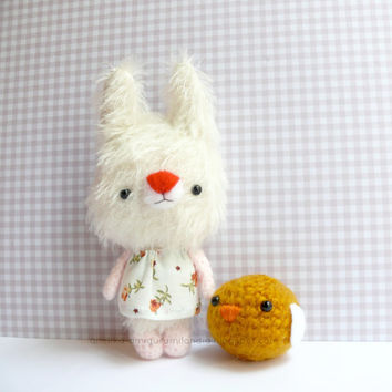 Little bunny mohair plush, plush toy , mohair animal, Bunny, art teddy bears, Amigurumi mohair,