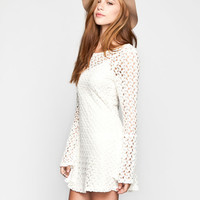 Mimi Chica Crochet Swing Dress Cream  In Sizes