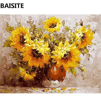 BAISITE Frameless DIY Oil Painting Pictures By Numbers On Canvas Wall Pictures Wall Art For Living Room Home Decoration c099