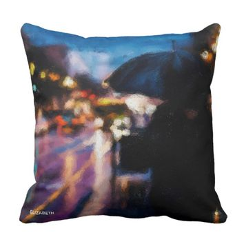 Lady With Umbrella In Rainy Night Moody Drawing Throw Pillow