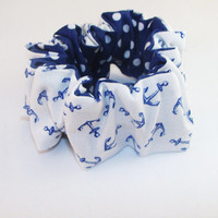 80s Hair Scrunchies White with Blue Anchors Reversible with Blue and White Polka Dots 80s hair accessory