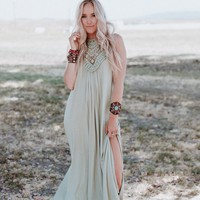 Cecily High Neck Maxi Dress - Sage