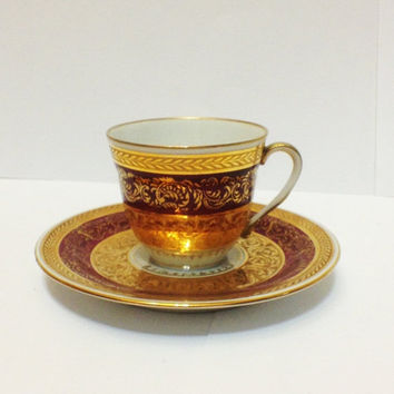 ON SALE Vintage Limoges UNIC Demitasse Cup Saucer, Red, Double Encrusted Gold, China, Porcelain