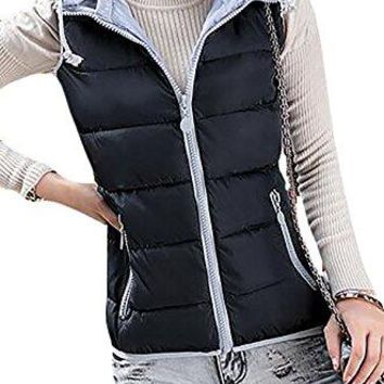 Pandapang Womens Casual Hooded Sleeveless Drawstring Warm Jacket Puffer Vest