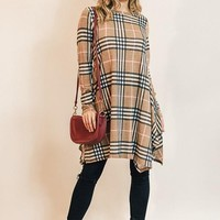Taupe Plaid A-Line Dress