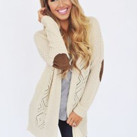Cream Knit Elbow Patch Cardi