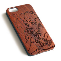 Smoking Punk Disney Princess laser engraved wood iPhone case iPhone case WA054
