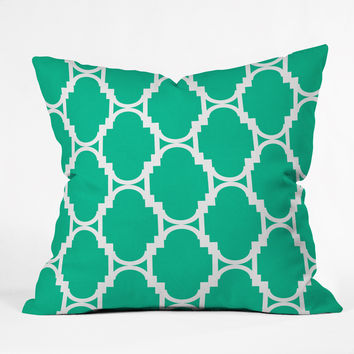 Rebecca Allen Pillow Talk Turquoise Outdoor Throw Pillow