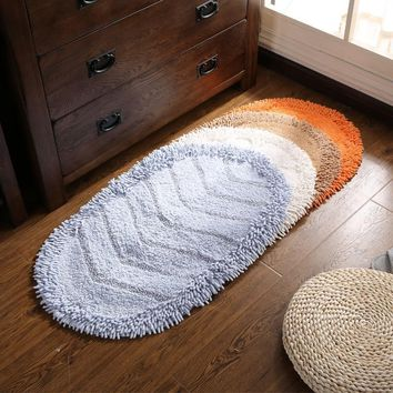 Autumn Fall welcome door mat doormat Oval cotton chenille mats Bathroom Water non-slip mat Bedroom  Solid color stripes carpet livingroom plush rug AT_76_7