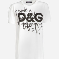 Women's T-shirts and Sweatshirts | Dolce&Gabbana - PRINTED COTTON T-SHIRT
