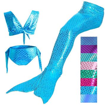 3PCS/Set 2017 Kids Girls Swimwear Mermaid Tail Costume For Swimming Bikini Swimsuit Costume Children Mermaid Tail Kids 8 Colors