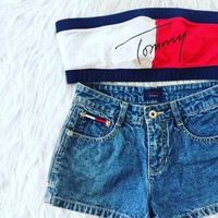 "Tommy Hilfiger "" 2016 Trending Fashion Women Spagehetti Strap Alphabets Words Crop Top With Shorts"