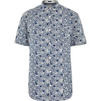 River Island MensWhite fish print short sleeve shirt