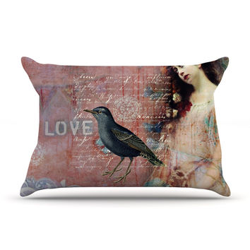 "Suzanne Carter ""Faith Hope Love"" Pink Typography Pillow Sham"