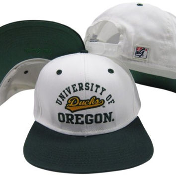 Oregon Ducks White/Green Two Tone Plastic Snapback Adjustable Snap Back Hat / Cap