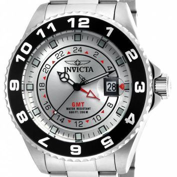 Invicta Pro Diver GMT Silver Dial Stainless Steel Mens Watch 18239