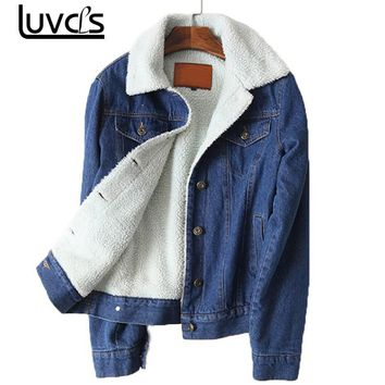 LUVCLS Winter Warm Fur Jeans Jacket Women Bomber Jacket Blue Denim Jacket Coat with Full Warm Lining & Front Button Flat Pockets